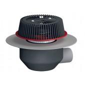 HL64.1PSafe/1 Кровельная воронка с горизонтальным выпуском для аварийного водостока, для ПВХ мембран, с электрообогревом U=230B, мощность 10-30Вт, DN110